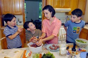 Family preparing healthy food